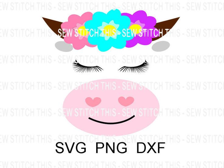 Baby cow svg, Cow svg, Cow with eyelashes, Cow with flowers, Baby svg, Baby shower, Farm animal svg, Farm svg, Cow head, Cow face, Animal by SewStitchThis on Etsy