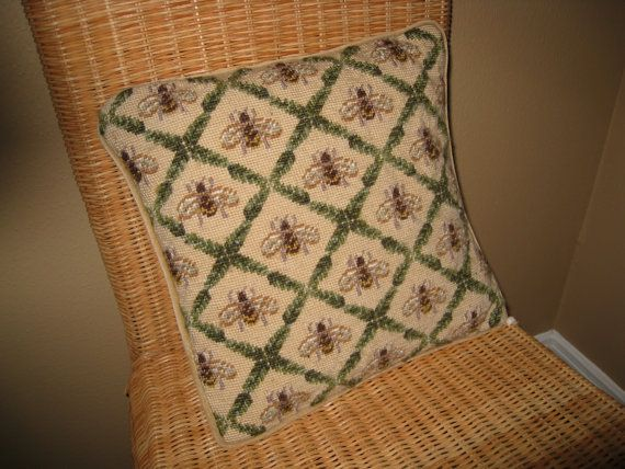 Honey Bee Cross Stitch | Vintage Brown Honey Bee Cross Stitch Pillow