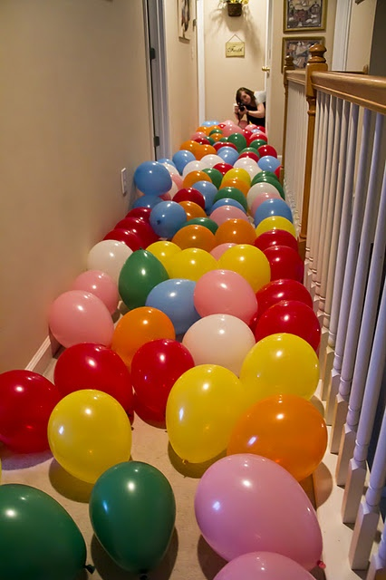 might have to do this for gabes birthday, since this is the BIG year! [he's a leap day baby] just need to figure out how to keep them from heading down the stairs