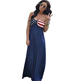 Women's American Flag Printing Sexy Backless Dress Bra Skirt My Wonderful World at Amazon Women's Clothing store: