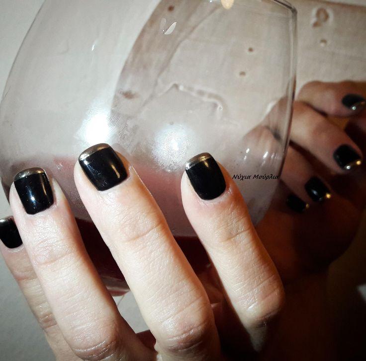 french nails~mirror nails ~black nails