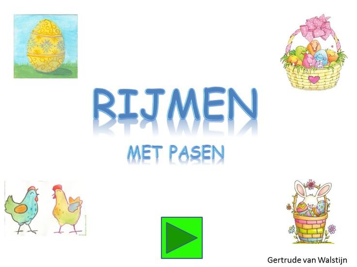 Rijmen met Pasen (digibordles voor kinderen van groep 1 en 2)  http://leermiddel.digischool.nl/po/leermiddel/2e4bcd770e01564b2df81e680ca66fe3?s=2.0