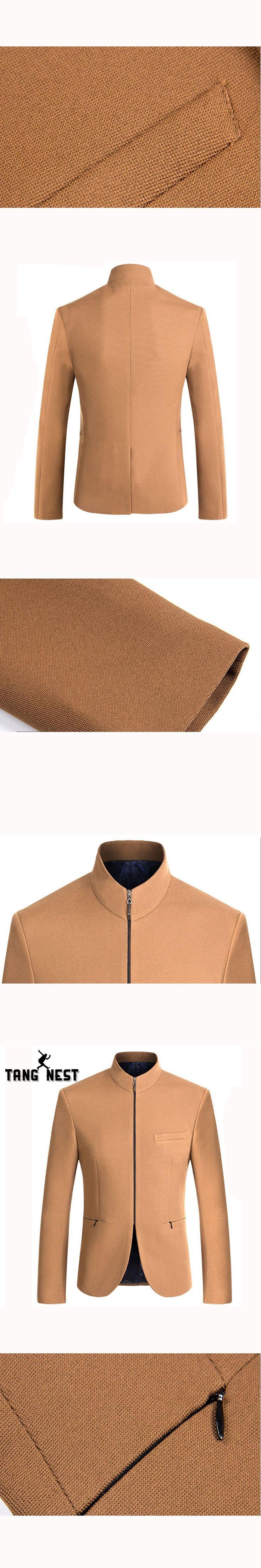 TANGNEST 2017 New Design Fashion Men Blazer Solid Color Blazer Masculino Slim Fit Asian Size XXL Casual Men Blazers MWX381