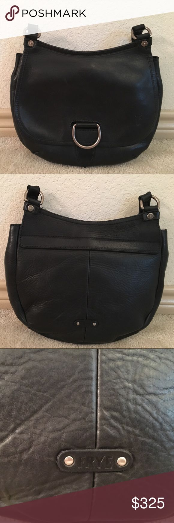 Frye 'Amy' Crossbody Bag NEW! Excellent condition. Black, rugged leather. Antique nickel hardware. Adjustable crossbody strap. Exterior: D-ring closure with outside zip pocket. Interior: Zipper pocket, 2 slip pockets, key holder and snap closure. Includes dust bag. You will love this bag! I'm letting it go since I've been using more shoulder bags. Frye Bags Crossbody Bags