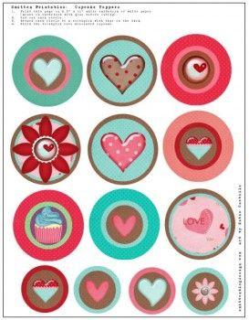 free printable heart cupcake toppers -- cute!