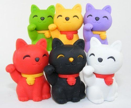 6pcs Japanese Iwako Erasers-Lucky Cat (Welcome Cat) by Iwako. $6.55. Brand new in the original package, individually packed. Designed and Made in Japan. Caution: Small parts, Choking hazard, please keep away from little kids and pet,. Size: measures around 1 to 1-1/2 inch H. Can be taken apart and put back like a puzzle. These are authentic Japanese erasers (made by the Iwako company) produced and hand assembled in Japan. Eco-friendly! Iwako erasers are lead free, ...