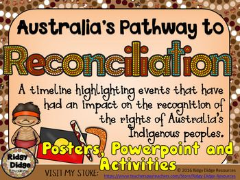 This high quality product features 24 beautifully presented posters, highlighting the events that have had an impact on the recognition of the rights of Australia's Indigenous peoples. Use as a wall display around your classroom to recognise and celebrate National Reconciliation week or use to support other activities that focus on the issues of reconciliation in Australia.