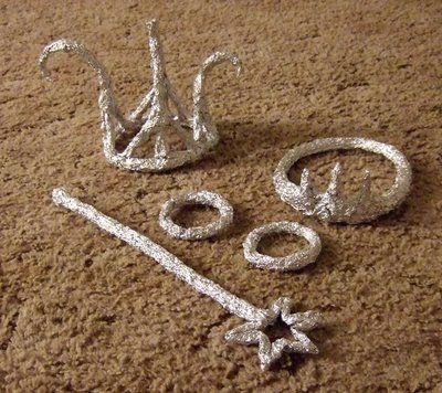Aluminum foil jewels and crowns etc