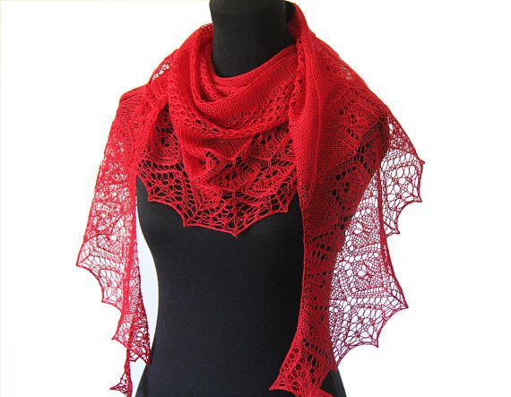 Hand Knitted Lace Shawl/ Wrap