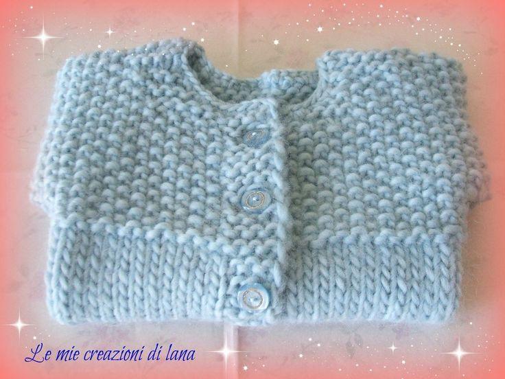 Golfino di lana azzurro, per neonato da 0-3 mesi, realizzato a mano ai ferri, by Le mie creazioni di lana, 27,00€ su misshobby.com