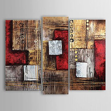 Hand-painted Abstract Oil Painting with Stretched Frame - Set of 3 - USD $ 79.99