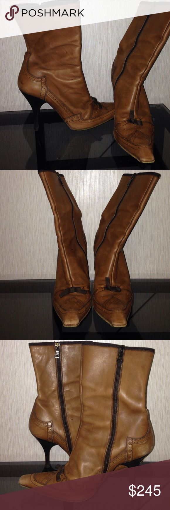 Brown prada leather vintage boots Brown leather boots with details. Vintage Prada boots!! Prada Shoes Heeled Boots