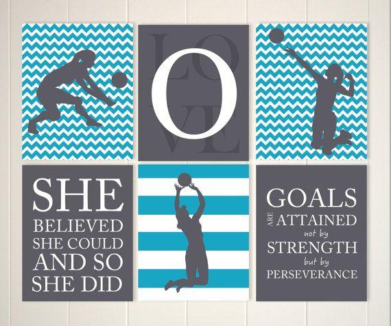 Inspirational Girls Art, Volleyball Wall Art, Girl Volleyball Player, Volleyball  Room Decor, Girls Quote Art, Set Of 6