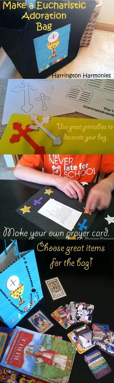 Make an Adoration bag for your child. Keep them prayerfully busy during Eucahristic Adoration. | Harrington Harmonies
