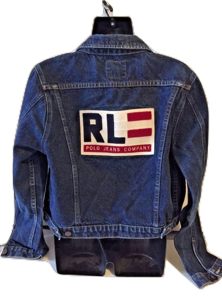 Ralph Lauren Polo Jeans Co. Denim Jeans Flag Patch Trucker Jacket Sz Large L EUC  Womens gently Ralph Lauren denim jacket. No rips, stains, or tears. Large patch flag on the back. Appears to be embroidered, very high quality. Made of 100% cotto...