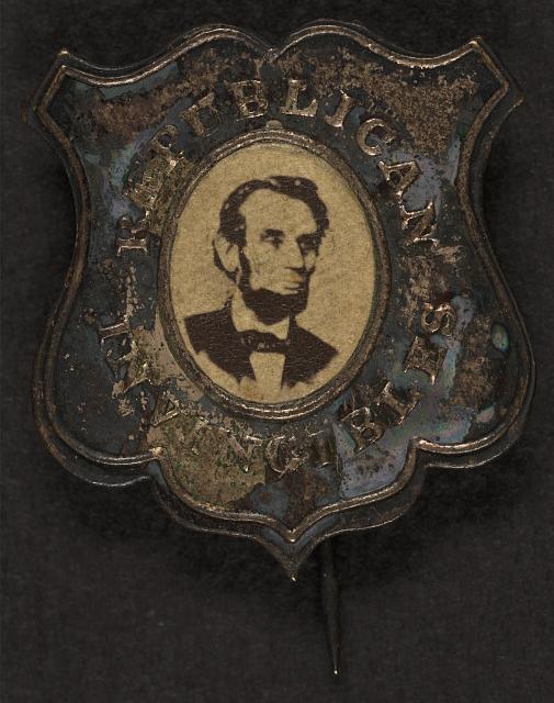 Campaign button for Republican Presidential Candidate Abraham Lincoln. (circa 1864).  *s*