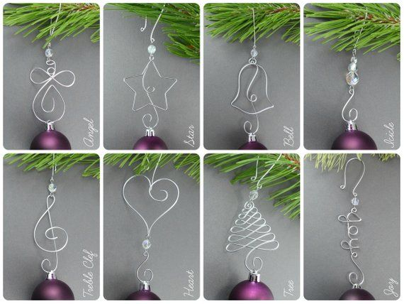 Five Beaded Christmas Ornament Hooks Wire Ornament Hangers Etsy Wire Ornaments Unique Christmas Ornaments Beaded Christmas Ornaments