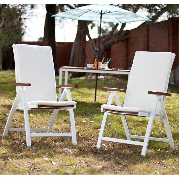 Medina Contemporary White Outdoor Folding Chair Set | Removable Cushions Included | White + Wood | Modern Outdoor Furniture Collection | Eurway.com