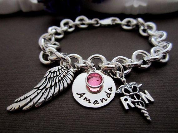 Would Love this when i graduate!!!! Nurse, Nurse Jewelry, Nurse Bracelet, Personalized RN/ LPN Bracelet, RN Jewelry Gift  - Hand Stamped Jewelry - Birthstone on Etsy, $47.00