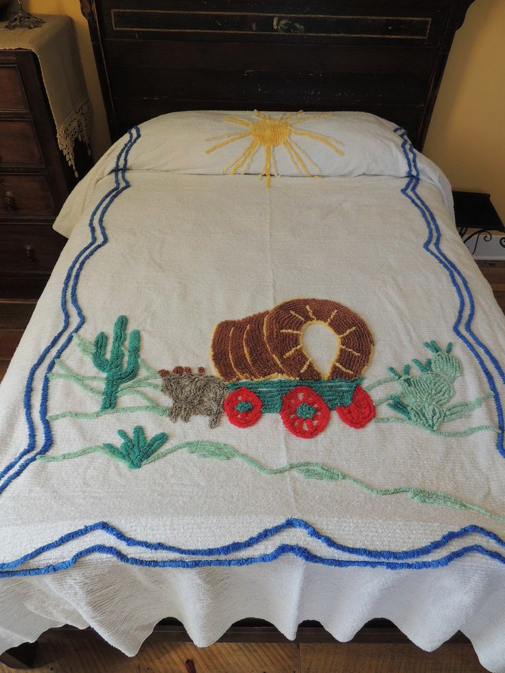 "Vtg Plush Cotton Chenille Bedspread Wagon Train Western Theme 89"" x 101"" Blanket"