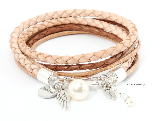 Wickelarmbänder - Lederarmband mit Gravur ♥ Wickelarmband - ein Designerstück von I-Tuepfel-Schmuck bei DaWanda