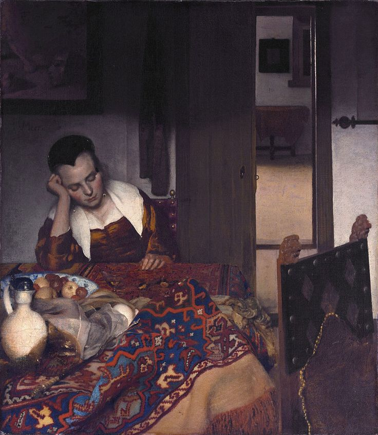 Ян Вермеер Спящая девушка, 1657 Een slapent vrouwtje Холст, масло. 87,6 × 76,5 см Музей Метрополитен, Нью-Йорк