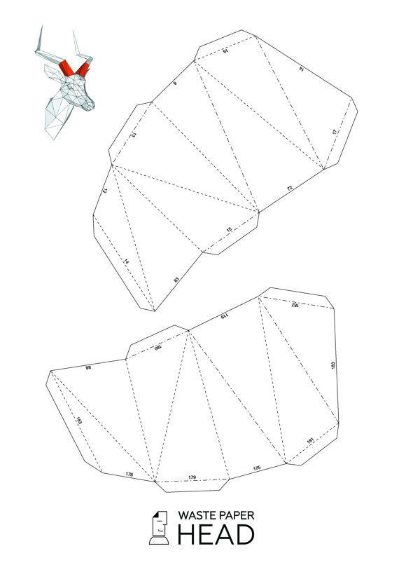 Papercraft impala head  printable DIY template