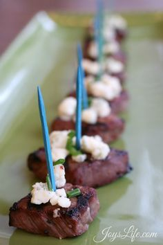 Italian Marinated Beef Medallions Topped with  Blue Cheese & Chives