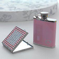 Pinker Flachmann & Kompaktspiegel