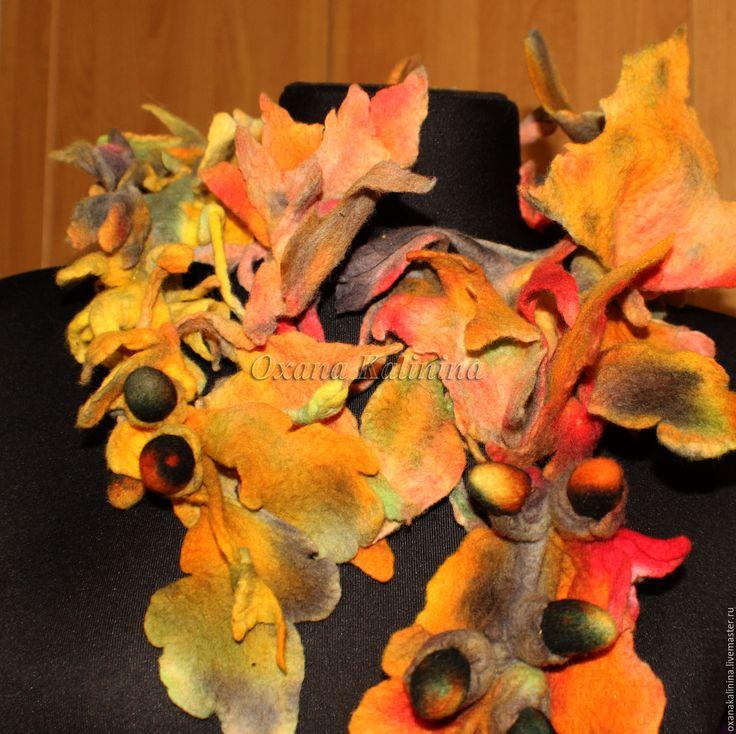 Купить Боа-шарф валяный Листопад - комбинированный, разноцветный, краски осени, осениие тона