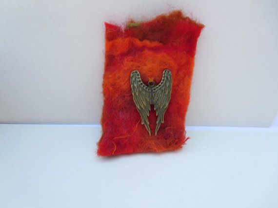 Angel Wings Felt Brooch Hand felted Red Brooch by KBrownJewellery, £15.00 would make a lovely gift www.kbrownjewellery.etsy.com