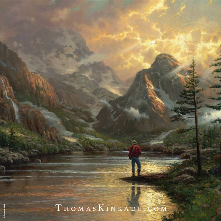 """""""Almost Heaven"""" was released in 2002 in the collection """"It Doesn't Get Much Better"""". The fisherman seems insignificant among so much grandeur; yet he is very much a part of the scene. We are immediately humbled by the surrounding nature."""