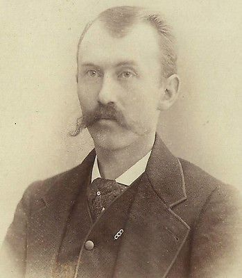 CABINET PHOTO VICTORIAN GENTLEMAN W/ HUGE THICK LONG MUSTACHE WATERTOWN NY