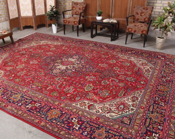 Living Room Rug 10x13 Rug Area Rug Hand Knotted Rug Handmade Red Rug Distressed Rug Home Decor Rugs On Carpet Buying Rugs Online Rugs