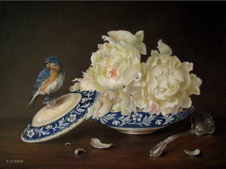 JEANNE ILLENYE - Still Lifes: Grandmother's Treasures white peonies, Bluebird, blue & white porcelain, silver ladle, antique tureen classical traditional oil painting