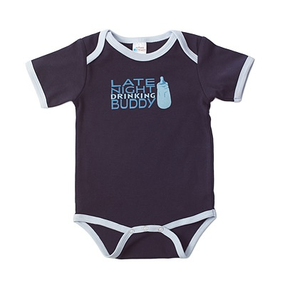 Late Night Drinking Buddy...I know just who I'd buy this for. Now she just needs to have a baby!Onesies Ideas, Baby'S Kids, Late Night, Night Drinks, Baby Onesies, Buddy Onesies, Baby Boys, Drinks Buddy, Baby Gift