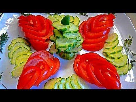 Карвинг из огурца и помидора. Цветы и лепестки. Как красиво оформить закуску - YouTube
