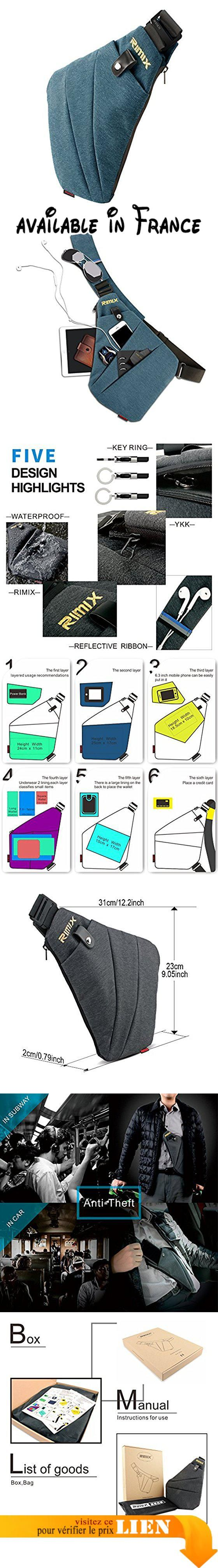 B075K97325 : RIMIX Multi-usage anti-vol Sac de sécurité caché Sous-bras Soutien-gorge à épaule Messenger Bag Sports Sac à poitrine Sac à dos portatif pour téléphone Money Passport Tactical Bag (Bleu/Pour Gaucher).  Matériau polyester anti-rayures durable et résistant à l'eau.  Fixation télescopique réglable adaptée à différentes hauteurs c'est très pratique pour travailler aller à la maison et faire un voyage d'affaire.  Avec la ceinture d'épaule