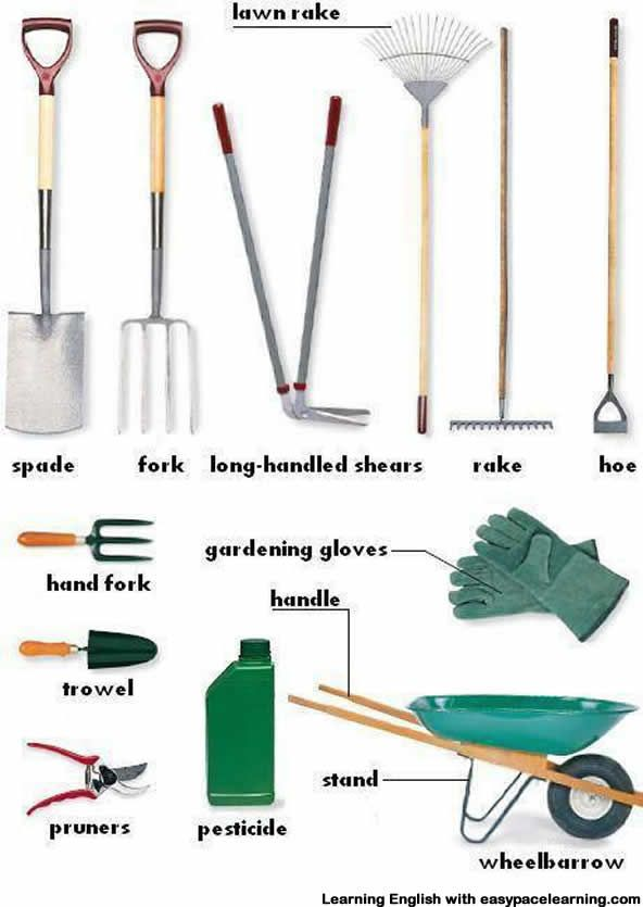 Learning the vocabulary for garden equipment. Each piece of garden equipment as a short description