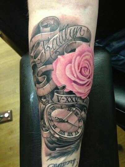 Childs name, birthday in roman numerals and time of birth in the clock...like this