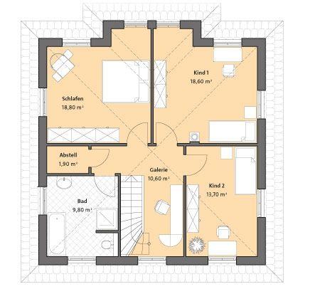 Mediterrane moderne Stadtvilla bauen - mit Garage und Klinker - Bau- GmbH Roth