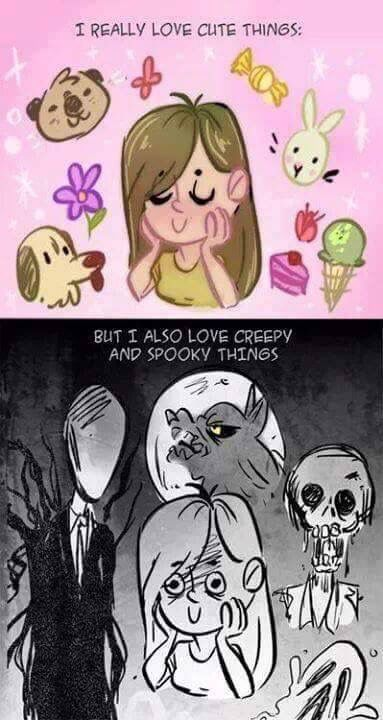 Forever will love my kawaii desu fashion and plushies and forever will play horror games and watch horror movies