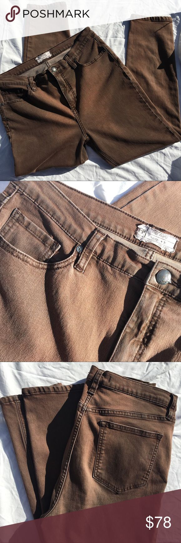 """Free People brown skinny jeans, factory faded Free People faded brown, Five-pocket stretchy cropped skinny jeans with high-rise waist. Zipper and button fly closure. The perfect, everyday skinny jean! 11.5""""  26"""" length Free People Jeans Skinny"""