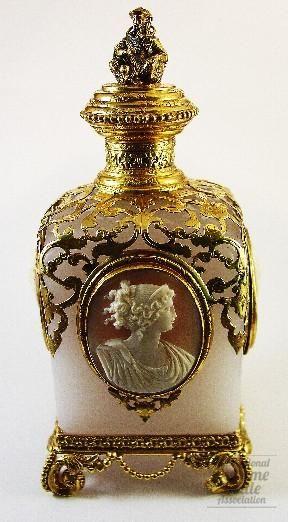 Palais Royal Cameo Portraits Perfume Bottle ~ Opaline glass & brass ormolu, by Designer/Maker: Palais Royal, probably Baccarat, France, 1850's