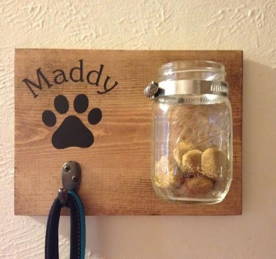 Dog Leash/Dog Treat Holder/Mason Jar- Personalized- Dog/Pet Lover Gift This…