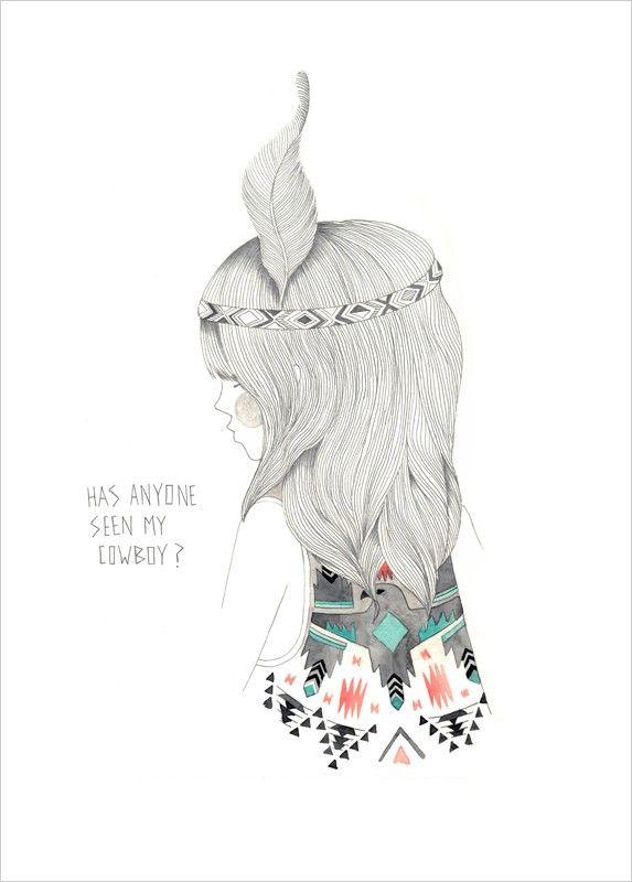 Indian Girl Art Print - Folk Art Poster - Leigh Harrington