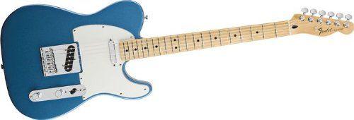 "Fender Standard Telecaster, Maple Fretboard - Lake Placid Blue. Body Shape: Telecaster. Bridge: 6-Saddle Standard Strings-Through-Body Telecaster with Block Saddles. Pickup Configuration: S/S. Hardware: Chrome. Unique Features: Vintage Styling, Parchment Plastic Parts. Body: AlderNeck: 1-Piece Maple, Modern ""C"" Shape, (Tinted Satin Urethane Finish)Fingerboard: Maple,Fingerboard radius: 9.5"" Radius (241mm)No. of Frets: 21 Medium JumboPickups: 2 Hot Standard Tele Single-Coil Pickups (Neck &..."