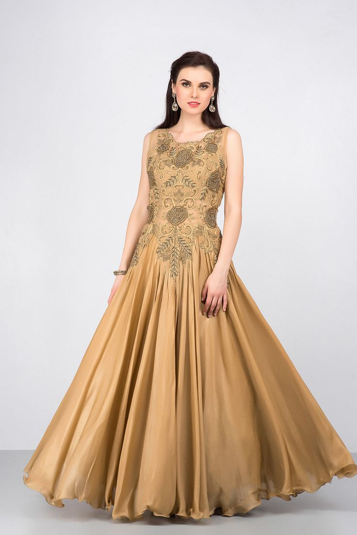 YOSSHITA AND NEHA golden embroidered gown