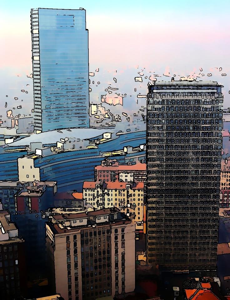 Il nuovo palazzo della regione lombardia ripreso dal grattacielo pirelli