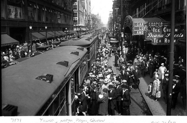Yonge Street, north from Queen Street is seen in this archive photo taken by Alfred Pearson, August 31, 1929.